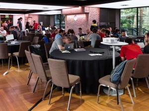 Workgroups during the hackaton, Wikimania 2014